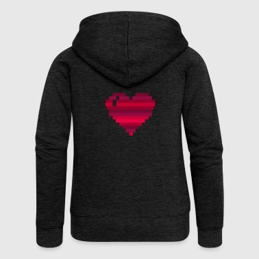 Heart pixelart - Women's Premium Hooded Jacket