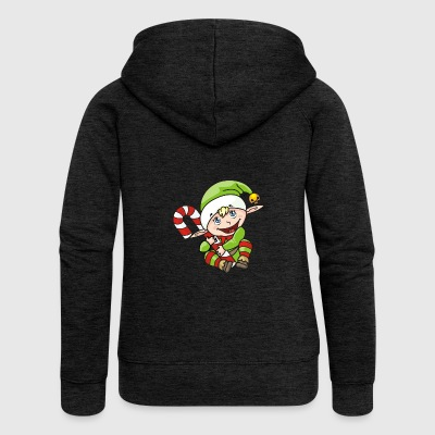 funny elf with candy cane - Women's Premium Hooded Jacket
