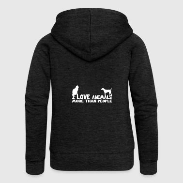 i love animals more than people shirt - Women's Premium Hooded Jacket