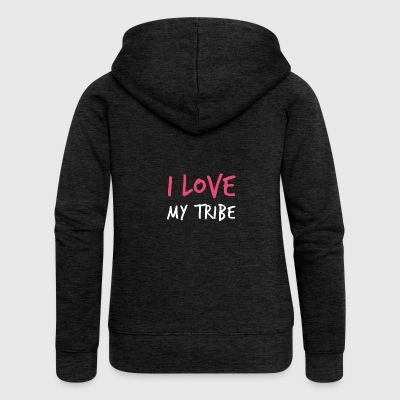 I Love My Tribe - Family Reunion - Women's Premium Hooded Jacket