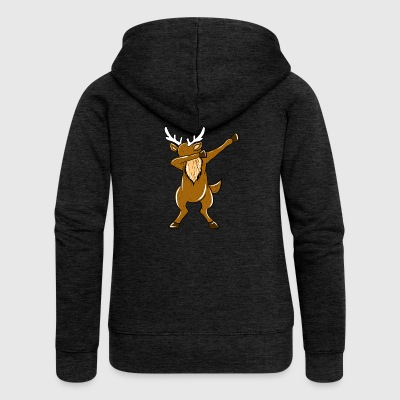 Dabbing Reindeer Xmas Funny Dab Christmas Holiday - Women's Premium Hooded Jacket
