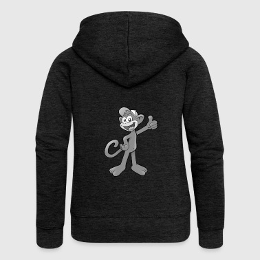 Laughing monkey in gray for children - Women's Premium Hooded Jacket