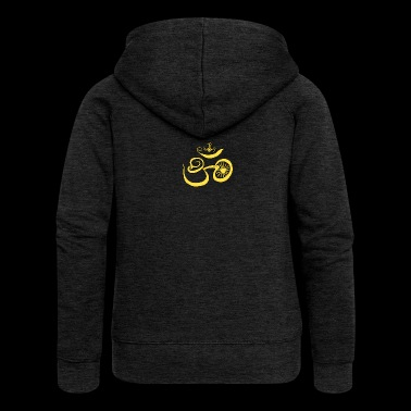 Symbol of Buddhist OM with sun - Women's Premium Hooded Jacket