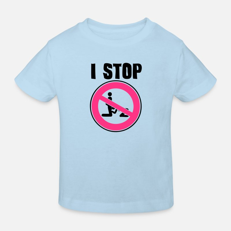 Panel Camisetas - i stop blowjob pipe sexual act1 panel interdiction  - Camiseta orgánica niño celeste