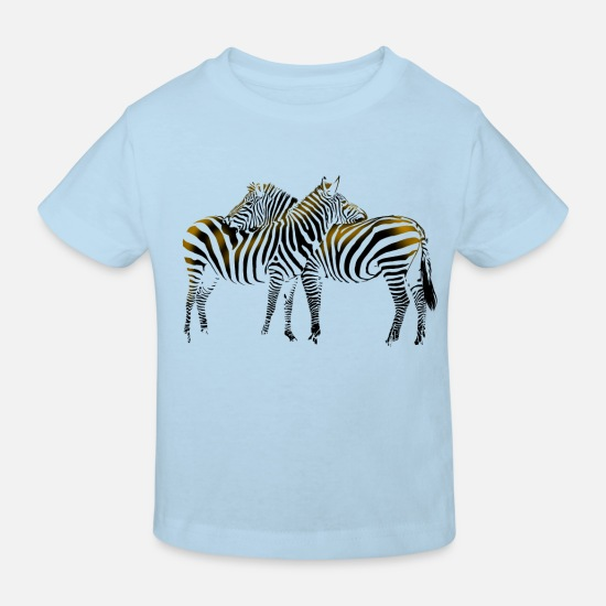 Zebra Baby Clothes - Zebra - Kids' Organic T-Shirt light blue
