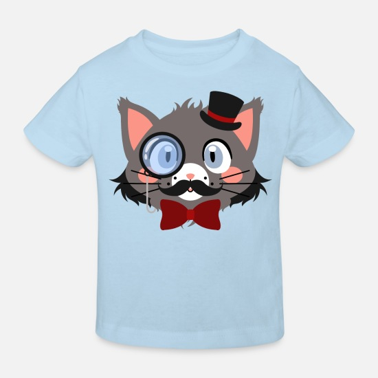 Pet Baby Clothes - Gentleman cat with monocle and hat - Kids' Organic T-Shirt light blue