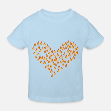 Brown flame - fire - heart - love Men's Tees - Kids' Organic T-Shirt