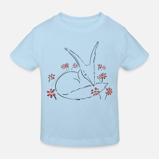 Drawing Baby Clothes - The Little Prince Fox In The Rose Garden - Kids' Organic T-Shirt light blue
