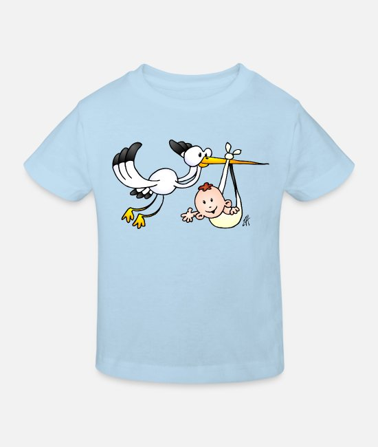 Bambino Baby Clothes - The stork brings the baby. - Kids' Organic T-Shirt light blue