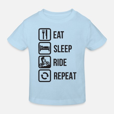 Rothirsch Eat sleep ride repeat - Kinder Bio T-Shirt