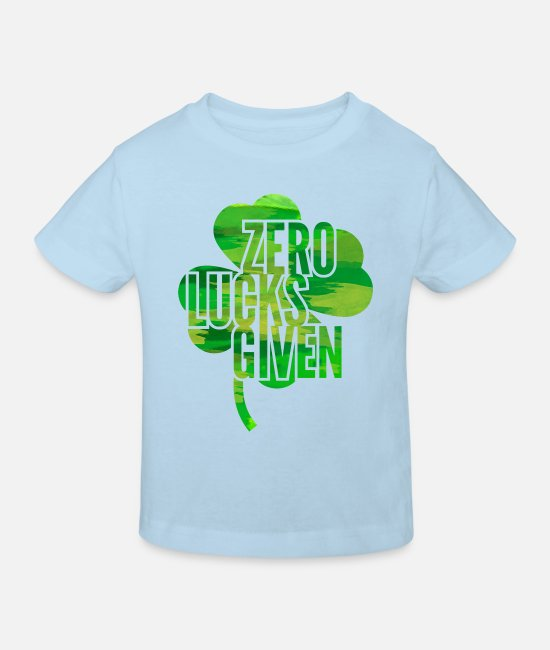 St Baby Clothes - Zero Lucks Given St. Paddys Day - Kids' Organic T-Shirt light blue