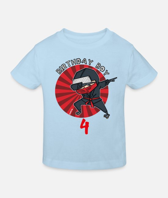 Boy Baby Clothes - Birthday 4 years Ninja T-Shirt Four - Kids' Organic T-Shirt light blue