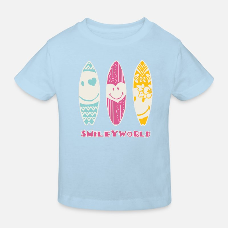 Officialbrands Magliette - SmileyWorld 'Surfboards' kids t-shirt - Maglietta ecologica per bambini celeste
