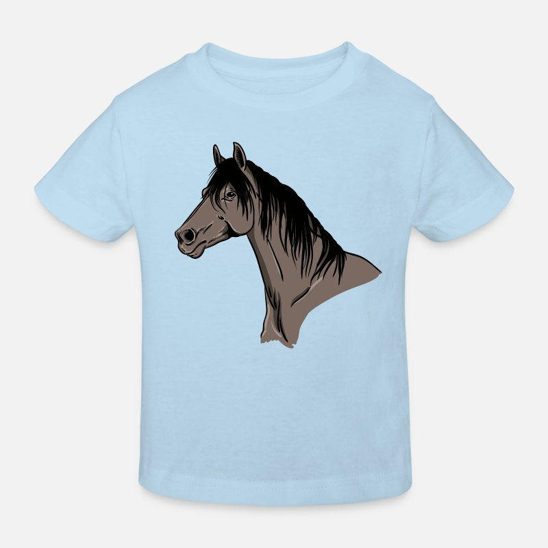 Bestsellers Q4 2018 T-Shirts - Horse Portrait - Kids' Organic T-Shirt light blue