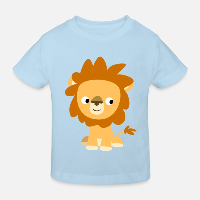 Lion T-Shirts - Cute Inquisitive Cartoon Lion by Cheerful Madness!! - Kids' Organic T-Shirt light blue
