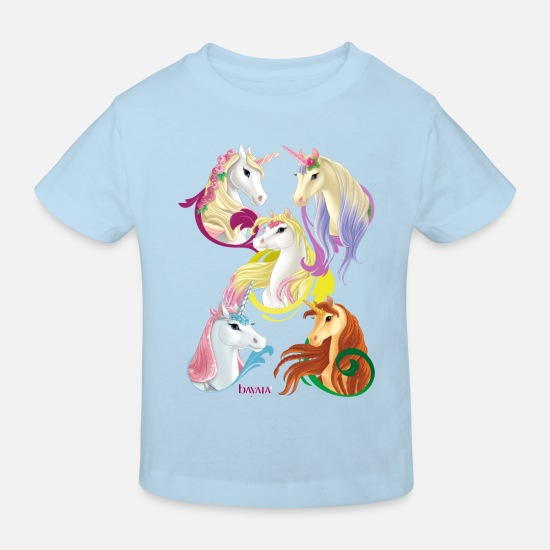 Rainbow Baby Clothes - Schleich bayala Unicorns and Pegasus horses - Kids' Organic T-Shirt light blue