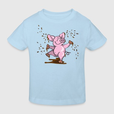Happy pig in the mud - Kids' Organic T-Shirt