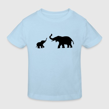Baby und Mutter Elefant - Kinder Bio-T-Shirt