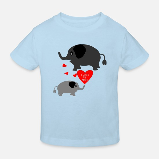Love Baby Clothes - Elephant I Love MY MOM - Kids' Organic T-Shirt light blue