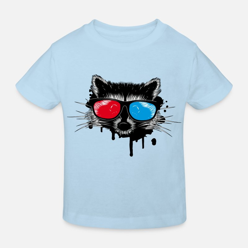 Cool T-Shirts - Raccoon with 3D glasses - Kids' Organic T-Shirt light blue