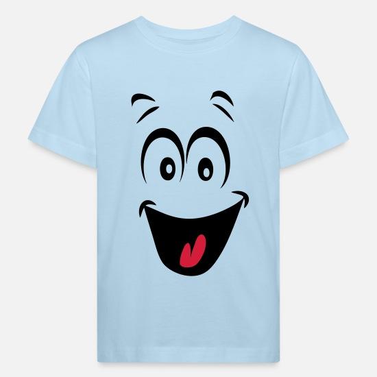 56c51cce2422b Humeur Vêtements Bébé - smiley joyeux humeur1 - T-shirt bio Enfant bleu pâle