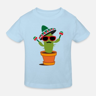 Maracas Cactus with sombrero and maracas  - Kids' Organic T-Shirt