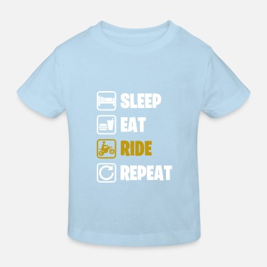 T-shirt humour cadeau sleep eat ride repeat blanc - T-shirt bio Enfant
