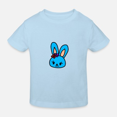 Egg Blue rabbit head - Kids' Organic T-Shirt