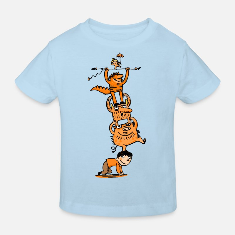 Collections  Babykleding - Monster kinderwedstrijd - Kinderen bio T-shirt celeste