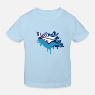 Paper Boat A paper boat on the ocean - Kids' Organic T-Shirt