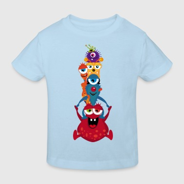 Eine bunte Monster Familie - Kinder Bio-T-Shirt