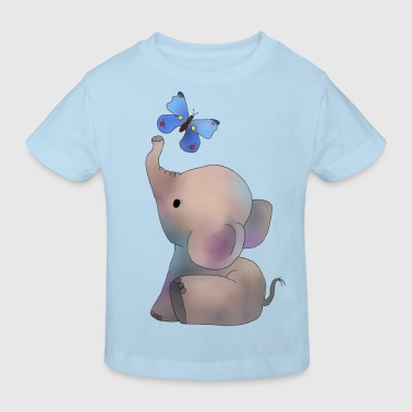 Elefant mit Schmetterling - Kinder Bio-T-Shirt
