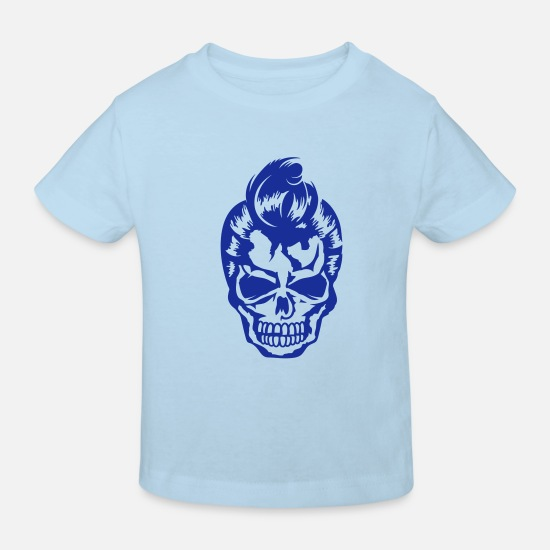 Vintage Baby Clothes - A skull with 50s hairstyle - Kids' Organic T-Shirt light blue