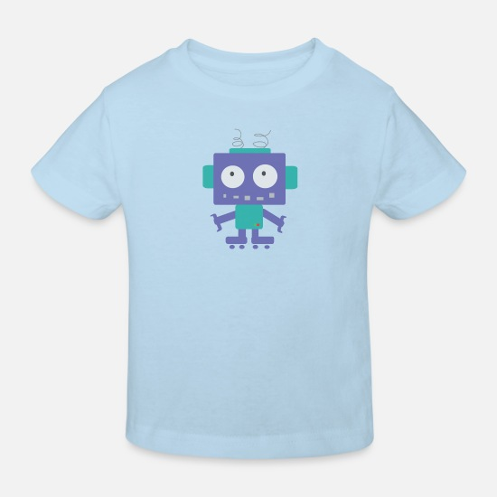School Boys Baby Clothes - Cute Little Robot - Kids' Organic T-Shirt light blue