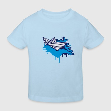 A paper boat on the ocean - Kids' Organic T-shirt