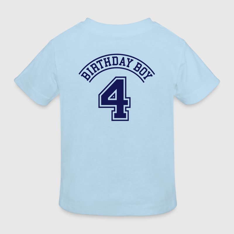 Birthday boy 4 jaar (rugprint) - Kinderen Bio-T-shirt