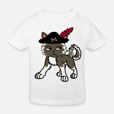 Buccaneer Funny cat pirate buccaneer with mouse - Kids' Organic T-Shirt