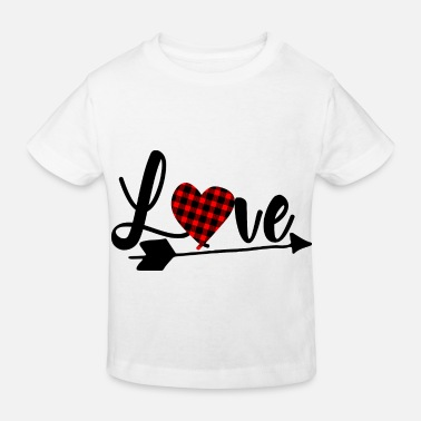 Love Valentine's Day Heart with Fabric Pattern Gift - Camiseta orgánica niño