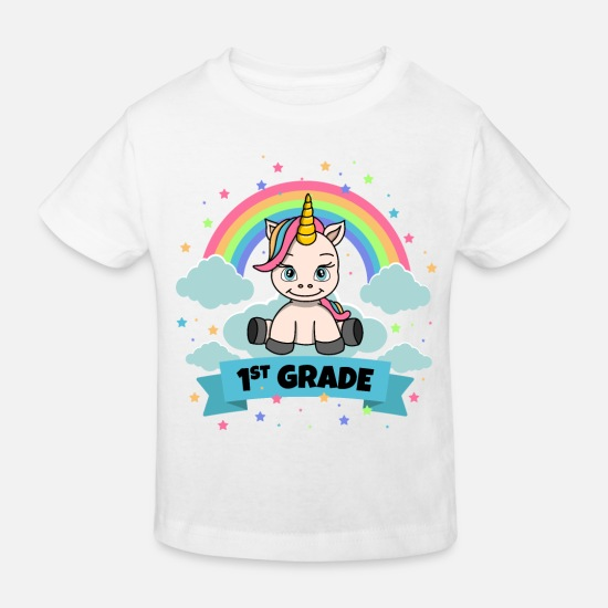 Gift Idea Baby Clothes - School enrollment, school first day, 1 class - Kids' Organic T-Shirt white