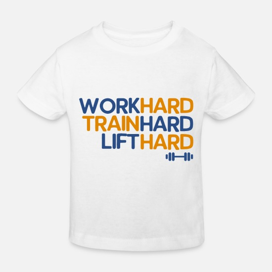 Body Builder Baby Clothes - Hard Work Hard Train Hard - Kids' Organic T-Shirt white