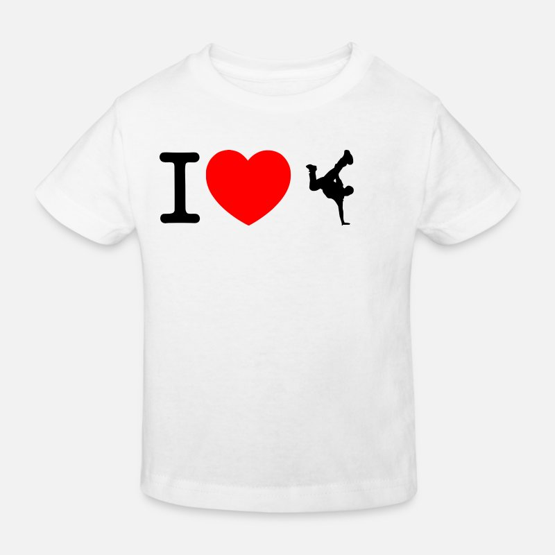 Présenter T-shirts - J'adore le break dance - T-shirt bio Enfant blanc