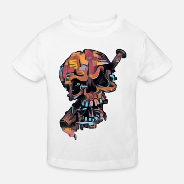 Crossed Bones Cracked Skull by baseball bat - color skull - Kids' Organic T-Shirt