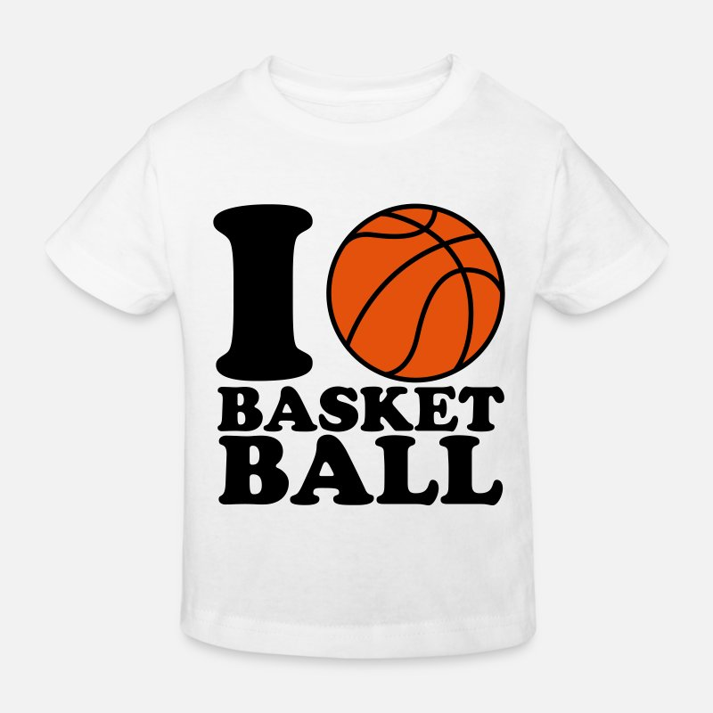 Ball T-Shirts - I Love Basketball - Kids' Organic T-Shirt white