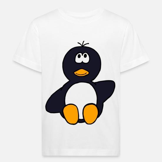 47b38d996e Baby Babykleidung - sitzender Pinguin - Kinder Bio T-Shirt Weiß