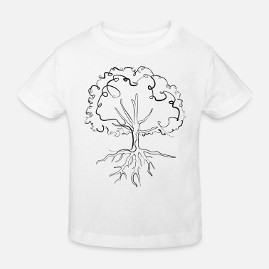 Tree Environmental protection tree - one line drawing - Kids' Organic T-Shirt