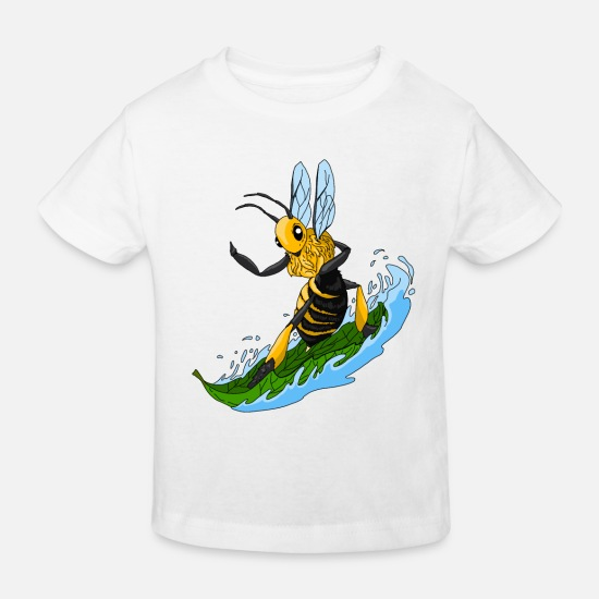 Waxe Baby Clothes - surfing bee on leaf. Gift for cool bees - Kids' Organic T-Shirt white