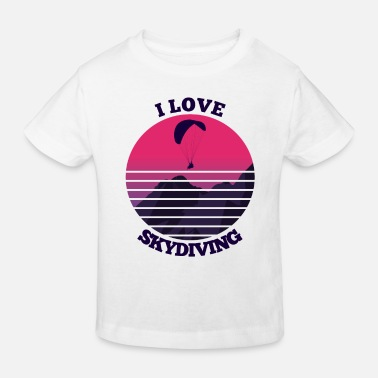 Retro Mountain I Love Skydiving Skydiving - Kids' Organic T-Shirt