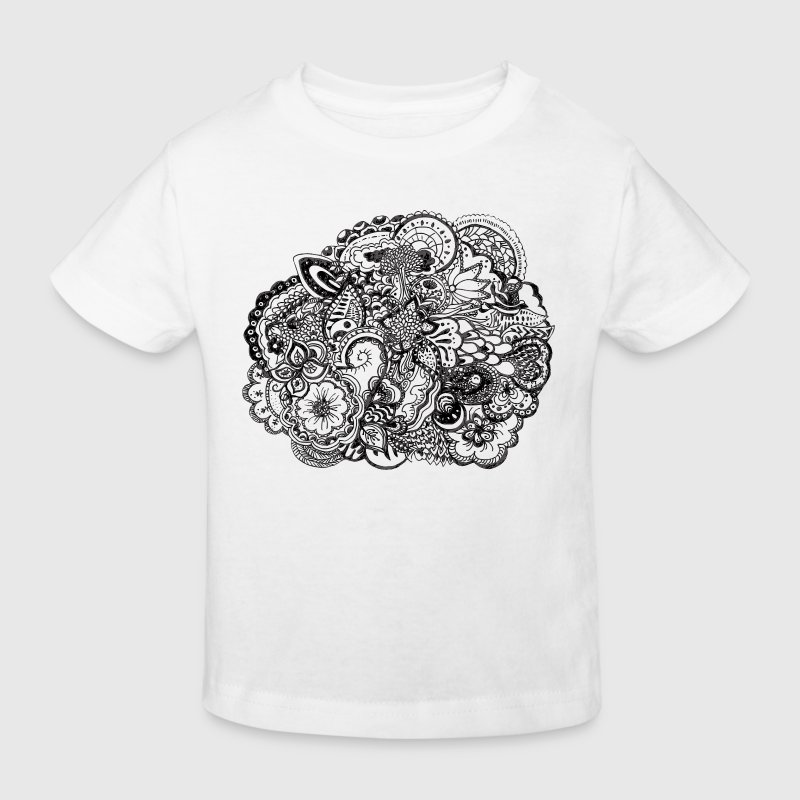 Black and white pen and ink doodle Bottles & Mugs - Kids' Organic T-shirt