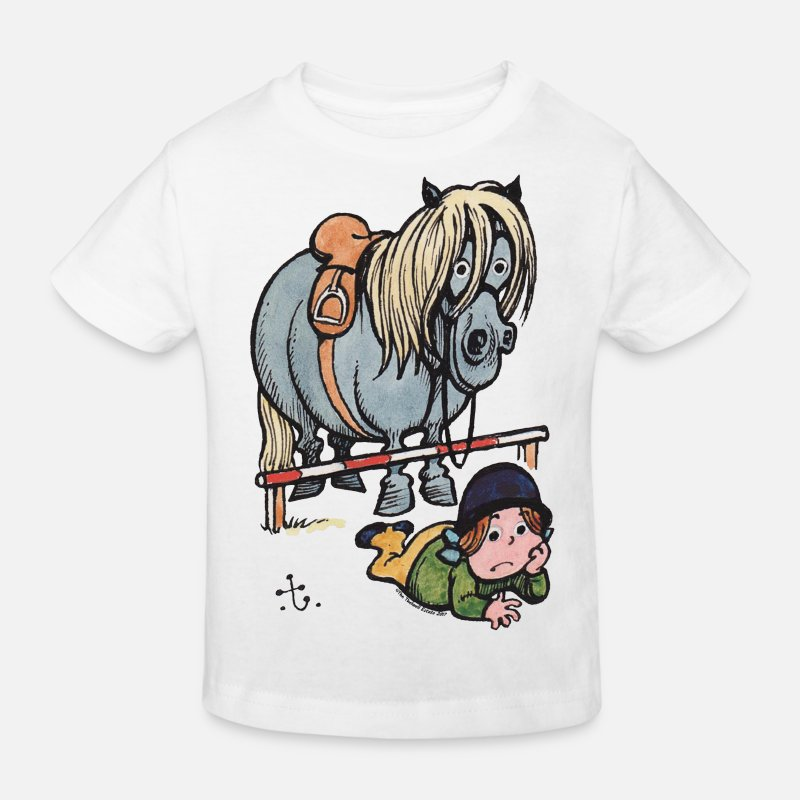 Humour T-shirts - Thellwell Cheval Saut D'Obstacles - T-shirt bio Enfant blanc