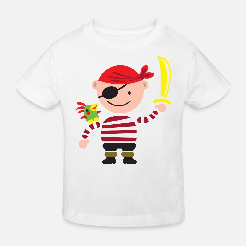 Piraten T-Shirts - kleiner Pirat mit Papagei - Kinder Bio T-Shirt Weiß